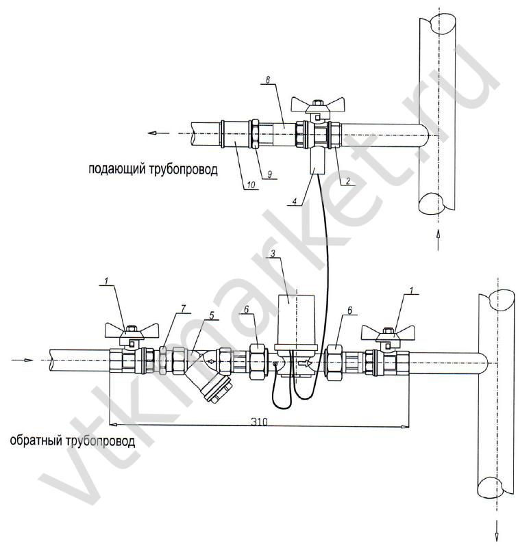 схема установки телосчетчика
